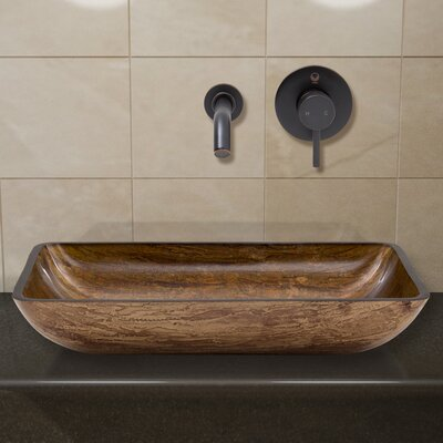 Amber Sunset Glass Rectangular Vessel Bathroom Sink Faucet Finish: Antique Rubbed Bronze