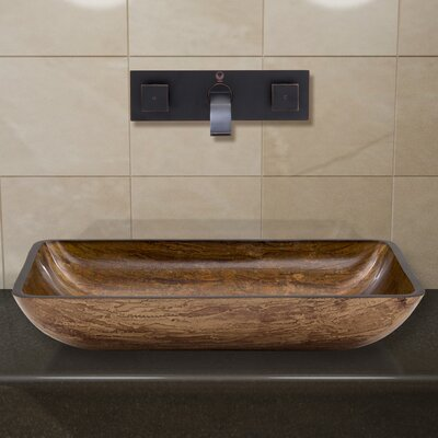 Glass Rectangular Vessel Bathroom Sink with Faucet Faucet Finish: Antique Rubbed Bronze