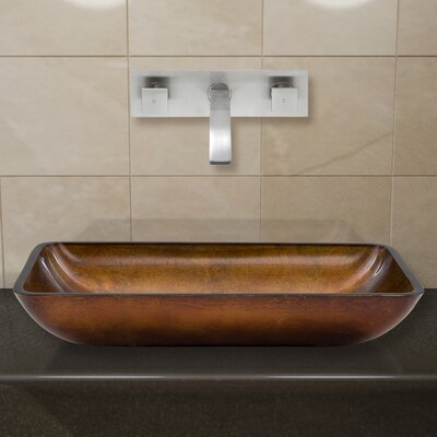Russet Glass Rectangular Vessel Bathroom Sink with Faucet Faucet Finish: Brushed Nickel