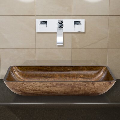 Amber Sunset Glass Rectangular Vessel Bathroom Sink Faucet Finish: Chrome