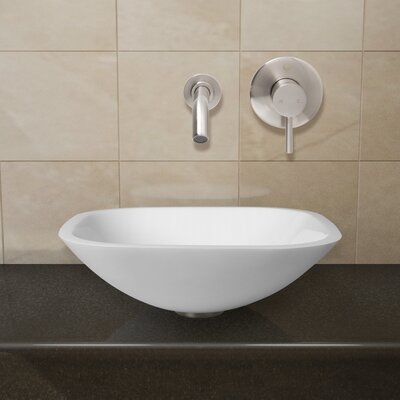 Phoenix Glass Square Vessel Bathroom Sink with Faucet Faucet Finish: Brushed Nickel