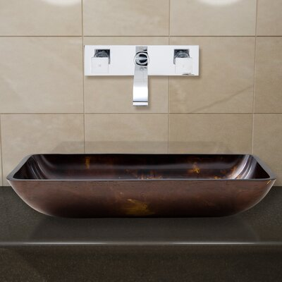 Fusion Glass Rectangular Vessel Bathroom Sink with Faucet Faucet Finish: Chrome