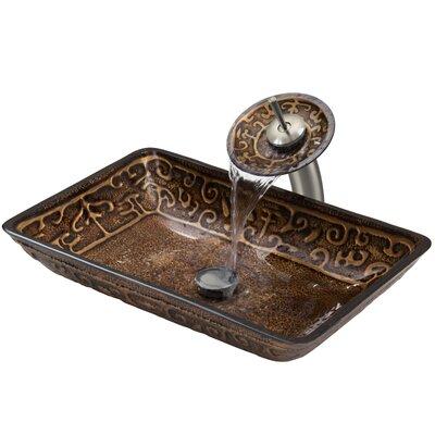 Greek Glass Rectangular Vessel Bathroom Sink Faucet Finish: Brushed Nickel