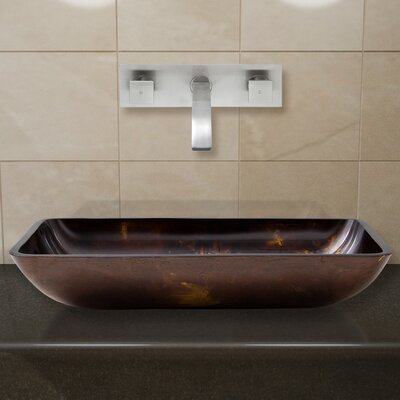 Fusion Glass Rectangular Vessel Bathroom Sink with Faucet Faucet Finish: Brushed Nickel