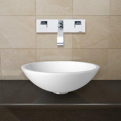 Flat Edged White Phoenix Stone Circular Vessel Bathroom Sink Faucet Finish: Chrome