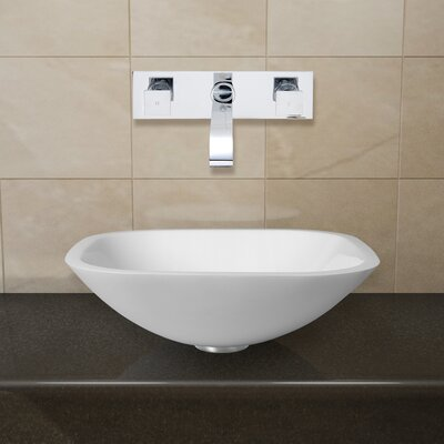 Phoenix Glass Square Vessel Bathroom Sink with Faucet Faucet Finish: Chrome