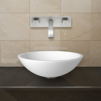 Flat Edged White Phoenix Stone Circular Vessel Bathroom Sink Faucet Finish: Brushed Nickel