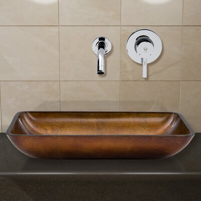 Russet Glass Rectangular Vessel Bathroom Sink Faucet Finish: Chrome