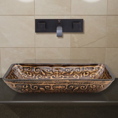 Greek Glass Rectangular Vessel Bathroom Sink Faucet Finish: Antique Rubbed Bronze