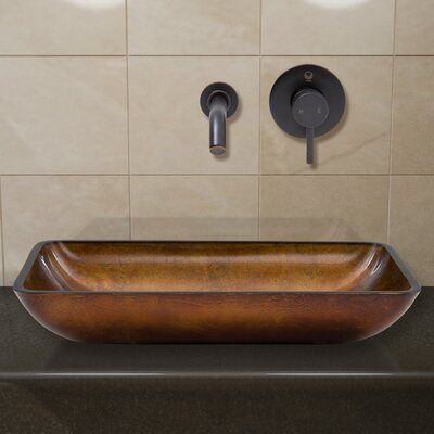 Russet Glass Rectangular Vessel Bathroom Sink Faucet Finish: Antique Rubbed Bronze