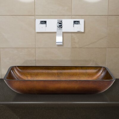 Russet Glass Rectangular Vessel Bathroom Sink with Faucet Faucet Finish: Chrome