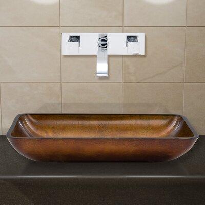 Russet Glass Rectangular Vessel Bathroom Sink Faucet Finish: Chrome