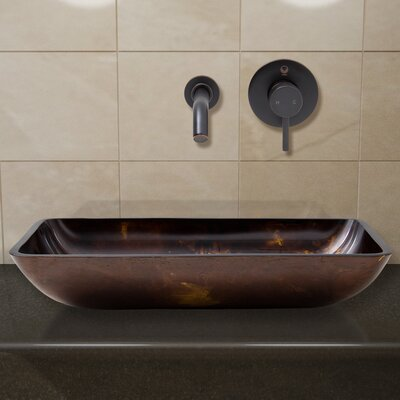 Fusion Glass Rectangular Vessel Bathroom Sink with Faucet Faucet Finish: Antique Rubbed Bronze