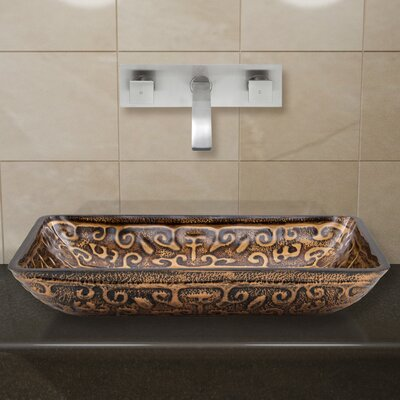 Greek Glass Rectangular Vessel Bathroom Sink with Faucet Faucet Finish: Brushed Nickel