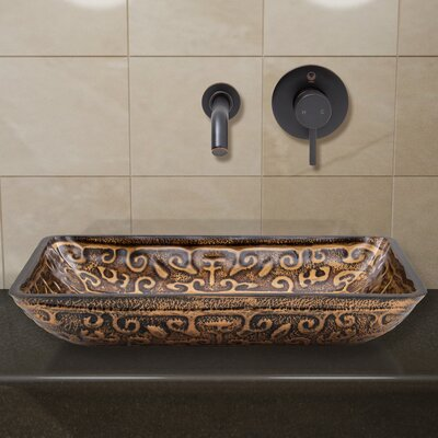 Greek Glass Rectangular Vessel Bathroom Sink with Faucet Faucet Finish: Antique Rubbed Bronze