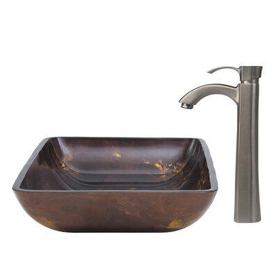 Fusion Glass Rectangular Vessel Bathroom Sink