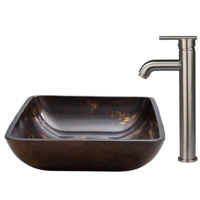 Fusion Glass Rectangular Vessel Bathroom Sink
