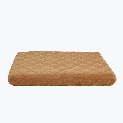 Quilted Orthopedic Dog Pillow with Protector Pad Size: Medium (42 L x 30 W), Color: Caramel