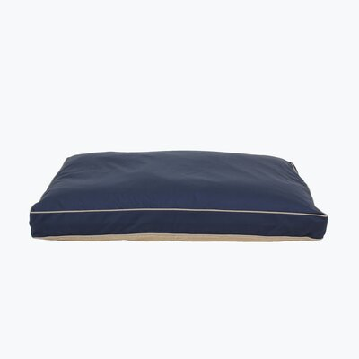 Four Season Pet Bed with Cashmere Berber Top in Blue with Khaki Cording Size: Large, Color: Blue