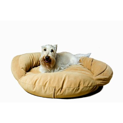 Velvet Microfiber Bolster Dog Bed Size: Small (35 L x 35 W), Color: Caramel