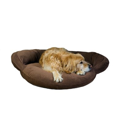 Velvet Microfiber Bolster Dog Bed Size: Medium (42 L x 42 W), Color: Caramel