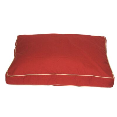 "Classic Twill Rectangular Dog Pillow Size: Large (42"" L x 30"" W), Color: Red"