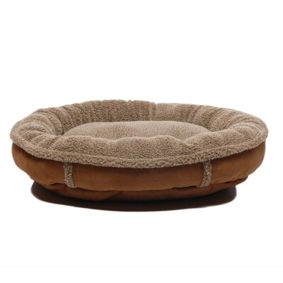 Faux Suede Round Comfy Cup Donut Dog Bed Size: Medium (36 L x 36 W), Color: Brown