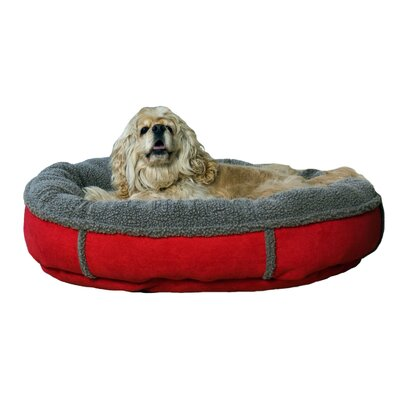 Faux Suede Round Comfy Cup Donut Dog Bed Size: Medium (36 L x 36 W), Color: Red