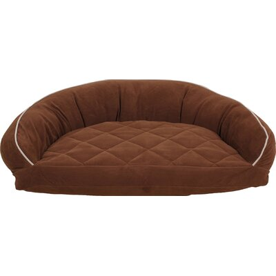Diamond Quilted Semi Circle Lounge Bolster Dog Bed Size: Small (32 L x 24 W), Color: Linen / Chocolate