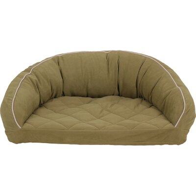 Diamond Quilted Semi Circle Lounge Bolster Dog Bed Size: Large (48 L x 34 W), Color: Linen / Sage