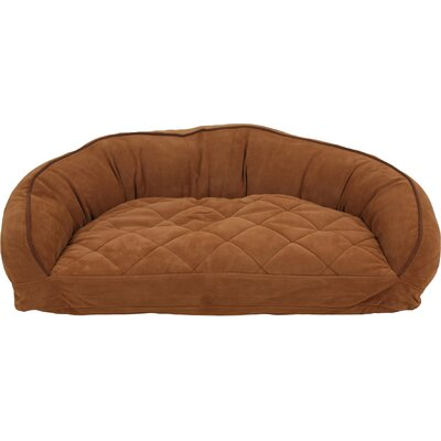 Diamond Quilted Semi Circle Lounge Bolster Dog Bed Size: Small (32 L x 24 W), Color: Chocolate / Saddle