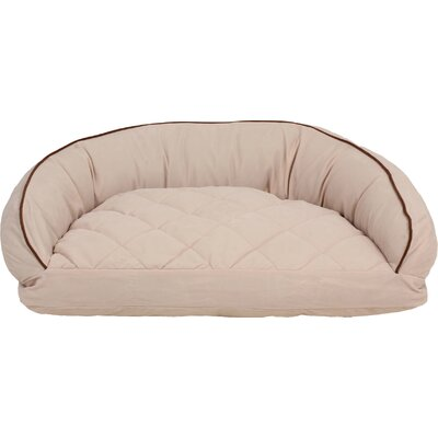 Diamond Quilted Semi Circle Lounge Bolster Dog Bed Size: Small (32 L x 24 W), Color: Chocolate / Linen