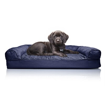 Quilted Orthopedic Sofa-Style Dog Bed Color: Navy, Size: Medium (30 L x 20 W)