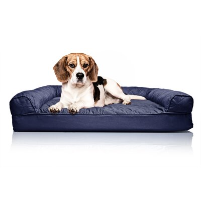 Quilted Orthopedic Sofa-Style Dog Bed Color: Navy, Size: Large (36 L x 27W)