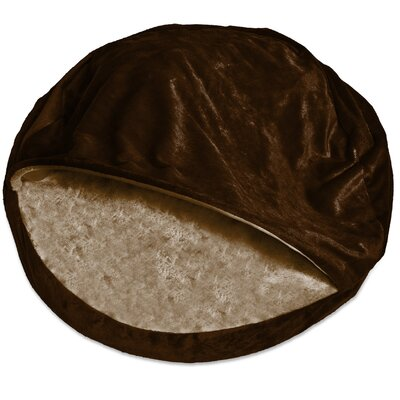 Microvelvet Snuggly Dog Cave Bed Hooded Color: Espresso, Size: Large (35 L x 35 W)