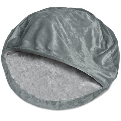 Microvelvet Snuggly Dog Cave Bed Hooded Color: Gray, Size: Large (35 L x 35 W)