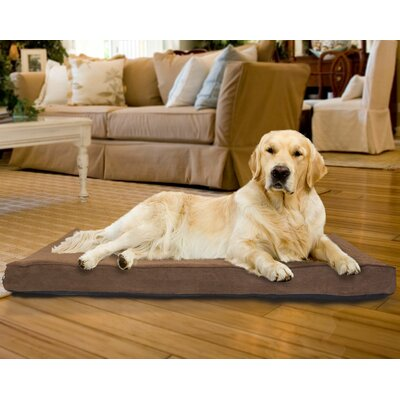 Snuggle Terry and Suede Memory Foam Dog Bed Color: Espresso, Size: Large (36 L x 27 W)