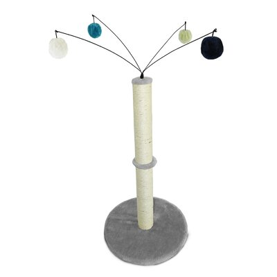 Fuzzball Cat Scratcher and Hanging Jingle Ball Toys Scratching Post Color: Gray