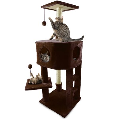 46.5 Treehouse Kitty Playground Cat Tree Color: Brown