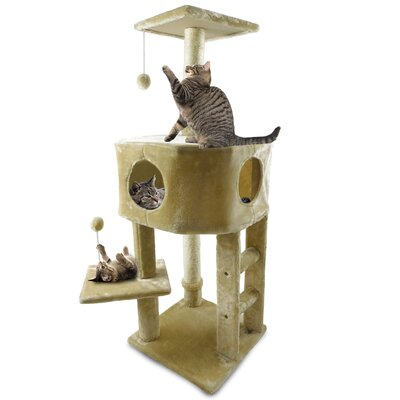 46.5 Treehouse Kitty Playground Cat Tree Color: Cream