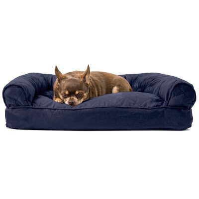 Deluxe Dog Bolster Color: Navy, Size: 10 H x 44 W x 35 D