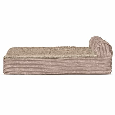 Faux Fleece and Corduroy Dog Sofa Color: Sandstone, Size: Extra Large (44 W x 35 D x 8 H)