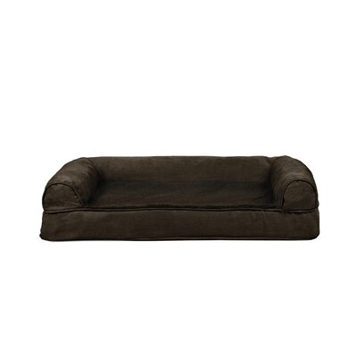 Plush and Suede Cooling Gel Top Dog Sofa Size: Medium (30 W x 20 D), Color: Espresso