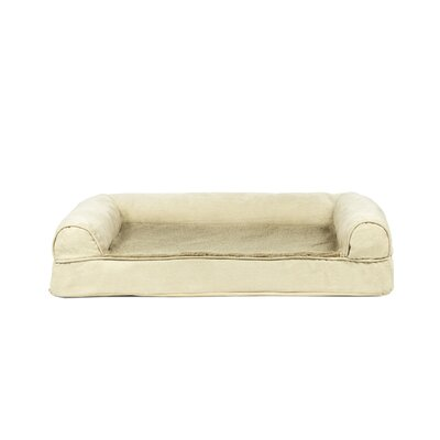 Plush and Suede Cooling Gel Top Dog Sofa Size: Small (20 W x 15 D), Color: Clay
