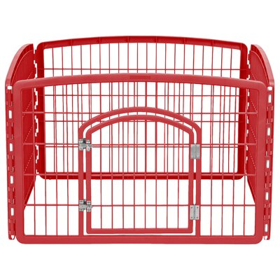 24 Indoor/Outdoor Plastic Pet Pen Color: Garnet Red