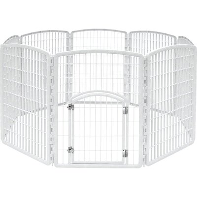 34 Indoor/Outdoor Plastic Pet Pen Color: White