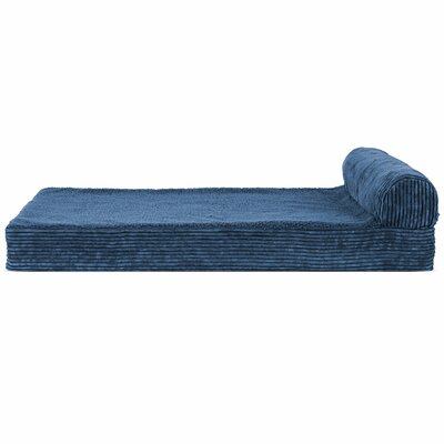Faux Fleece and Corduroy Dog Sofa Color: Navy Blue, Size: Medium ( 30 W x 20 D x 6.75 H)