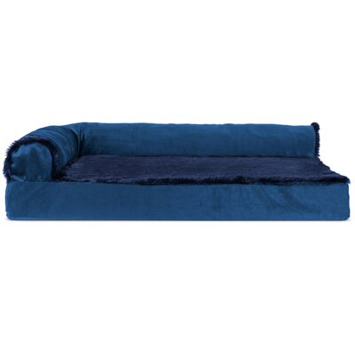 Plush and Velvet Deluxe Orthopedic Dog Sofa Color: Deep Sapphire, Size: Medium ( 30 W x 20 D x 6.75 H)