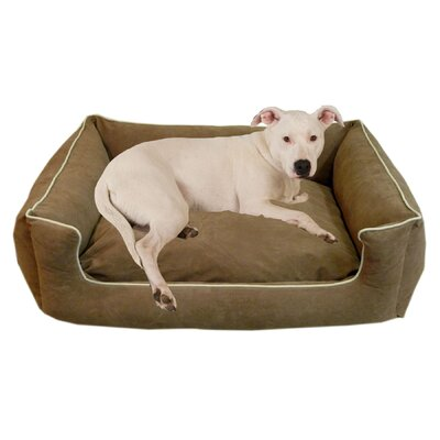 "Low Profile Kuddle Lounge Bolster Dog Bed Size: X-Small (26"" L x 19"" W), Color: Chocolate"