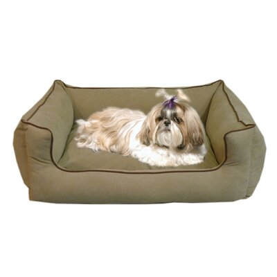 "Low Profile Kuddle Lounge Bolster Dog Bed Size: X-Small (26"" L x 19"" W), Color: Linen"